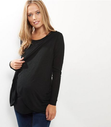Maternity Black Wrap Long Sleeve Nursing T-Shirt | New Look