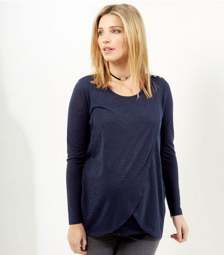 Maternity Navy Wrap Long Sleeve Nursing T-Shirt | New Look