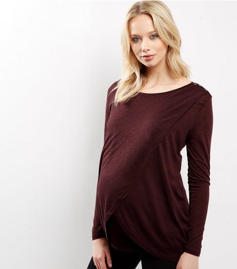 Maternity Burgundy Wrap Long Sleeve Nursing T-shirt | New Look