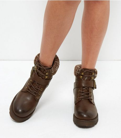 Dark Brown Leather-Look Knitted Trim Boots  | New Look