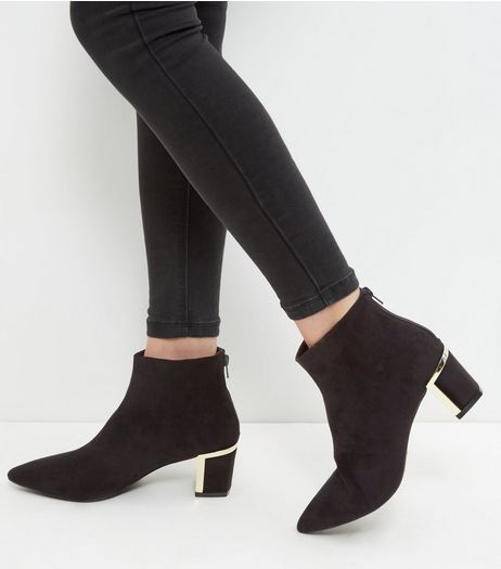 Black Metal Trim Suedette Block Heel Ankle Boots | New Look