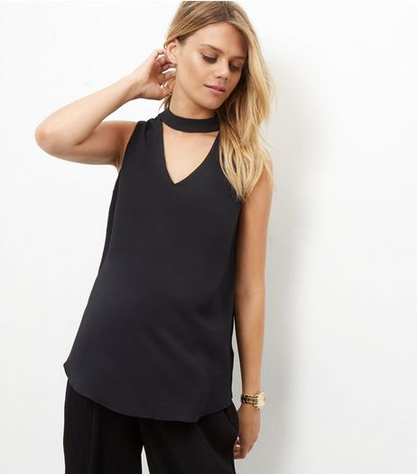 Maternity Black Cut Out Sleeveless Top | New Look