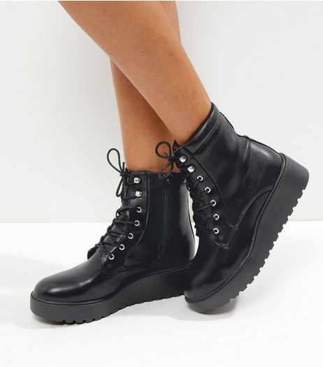 Black Lace Up Creeper Boots | New Look
