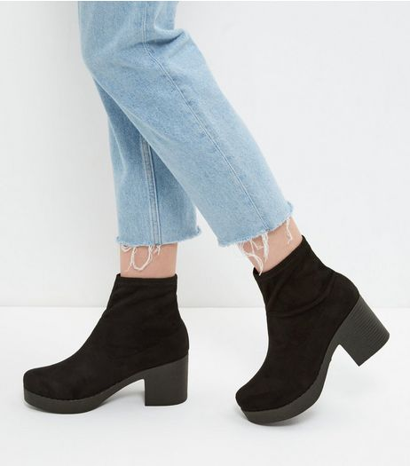 Black Suedette Chunky Sock Boot | New Look