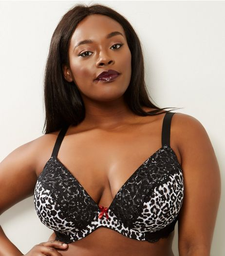 Curves Black Animal Print Lace Trim Plunge Bra | New Look