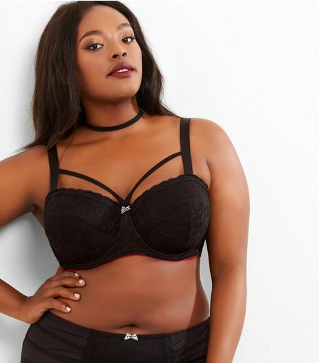 Curves Black Lace Strap Front Bra | New Look
