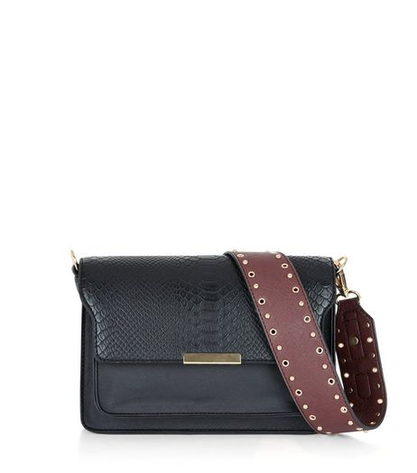 Dark Red Stud And Eyelet Bag Strap | New Look
