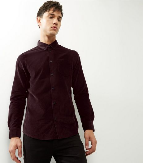 Burgundy Cord Long Sleeve Shirt | New Look