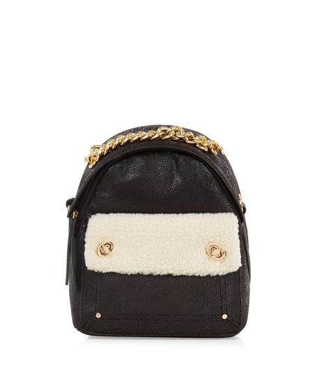Black Gold Chain Shearling Mini Backpack | New Look