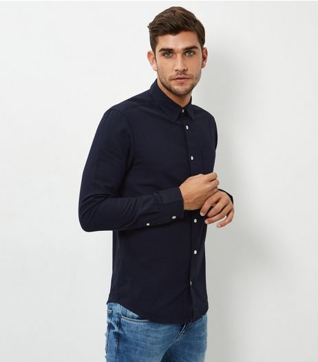 Navy Single Pocket Long Sleeve Shirt | New Look