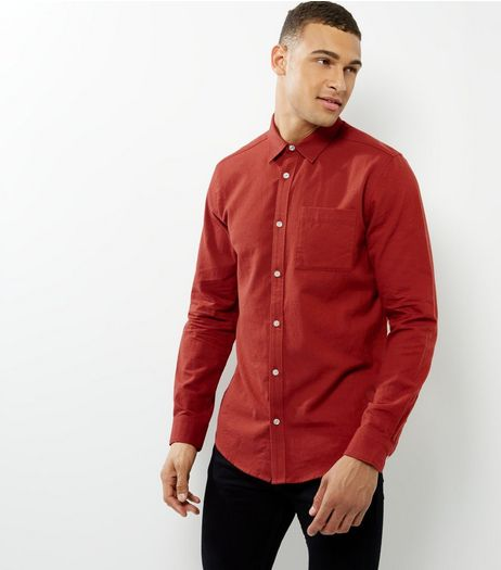 Orange Single Pocket Long Sleeve Shirt | New Look