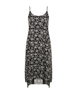 Apricot Black Floral Print Hanky Hem Dress | New Look