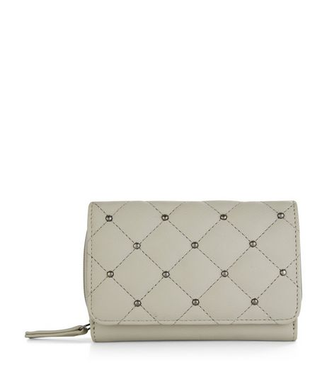 Grey Quilted Stud Mini Cardholder | New Look