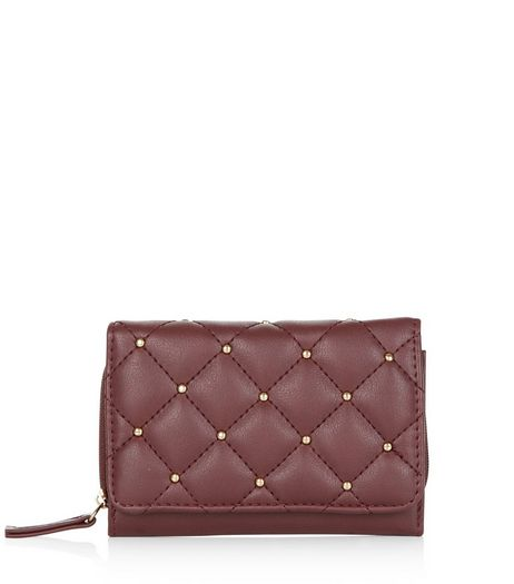 Dark Red Gold Stud Quilted Purse | New Look