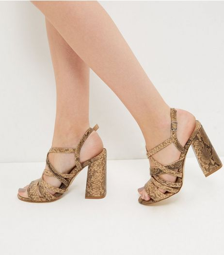 Brown Snakeskin Print Strappy Block Heels  | New Look