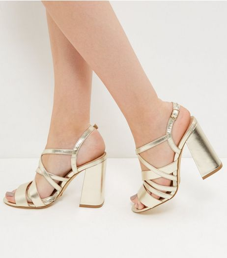 Gold Strappy Block Heels | New Look