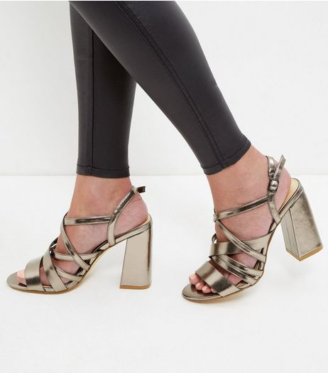 Bronze Cross Strap Block Heeled Sandals | New Look