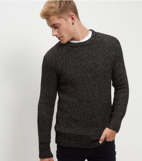 Black Stitch Trim Crew Neck Knitted Jumper  | New Look