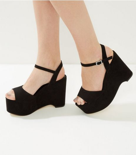Black Suedette Platform Wedges | New Look