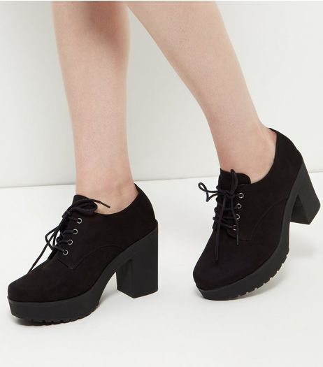 Black Lace Up Block Heel Boots | New Look