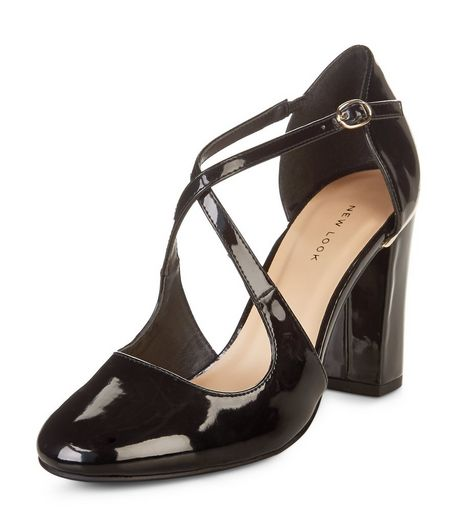 Black Patent Cross Strap Court Shoes  | New Look