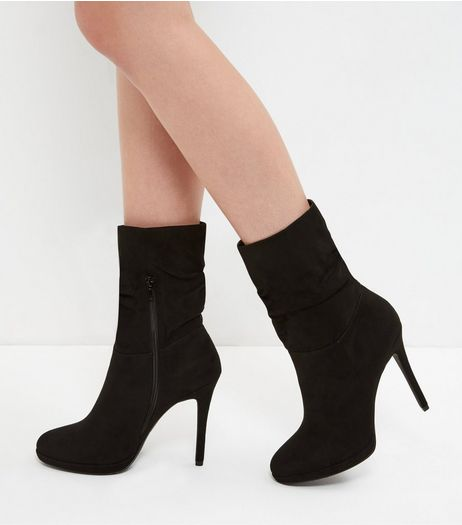 Black Suedette Ruched Calf High Heeled Boots | New Look
