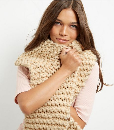 Cream Chunky Knitted Scarf | New Look