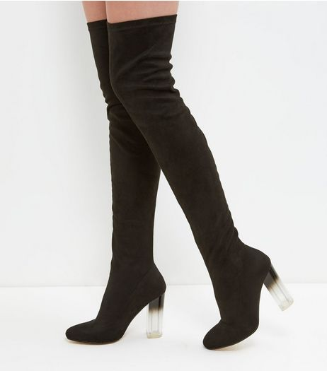 Black Clear Heeled Thigh Boots | New Look