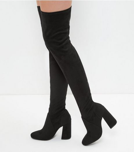 Black Suedette Flared Heel Over The Knee Boots | New Look
