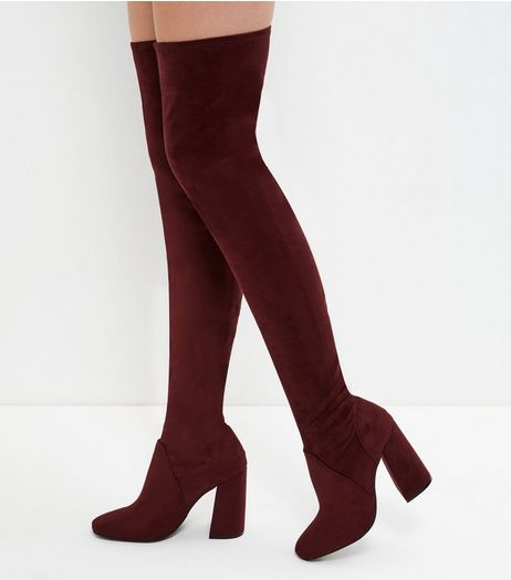 Dark Red Suedette Over The Knee Flared Heel Boots  | New Look