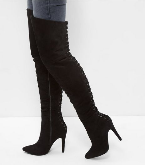 Black Suede Lace Back Heeled Over The Knee Boots | New Look