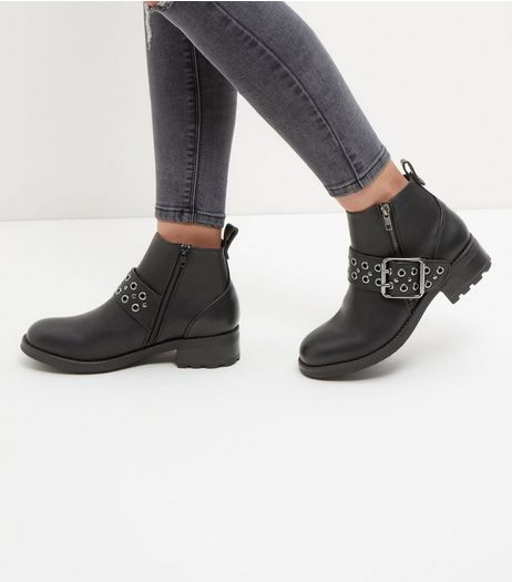 Black Eyelet Strap Biker Boots  | New Look