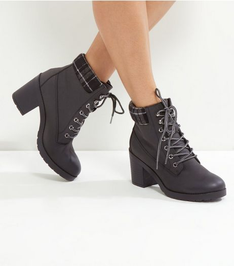 Black Check Top Lace Up Ankle Boots | New Look