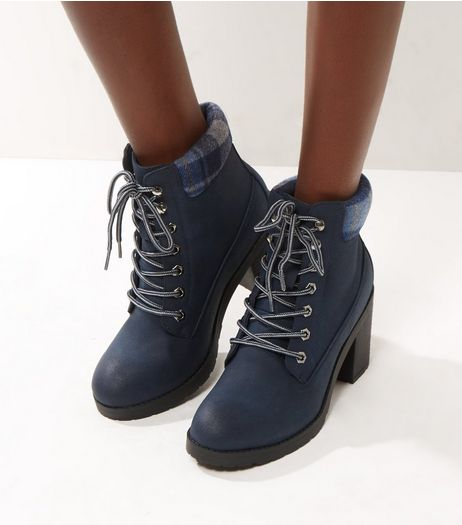 Navy Check Top Lace Up Ankle Boots | New Look