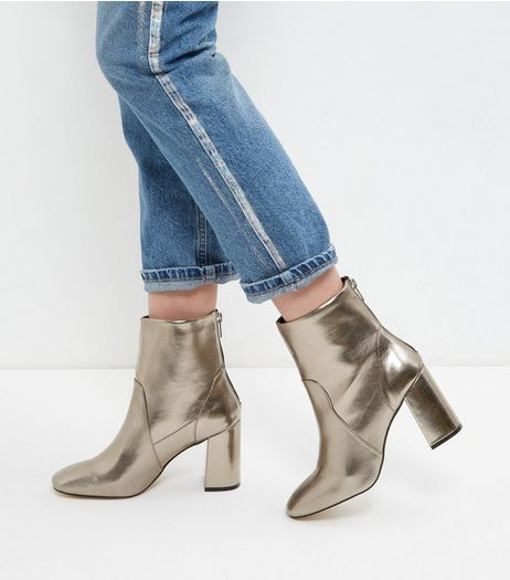 Pewter Back Zip Block Heel Boots | New Look