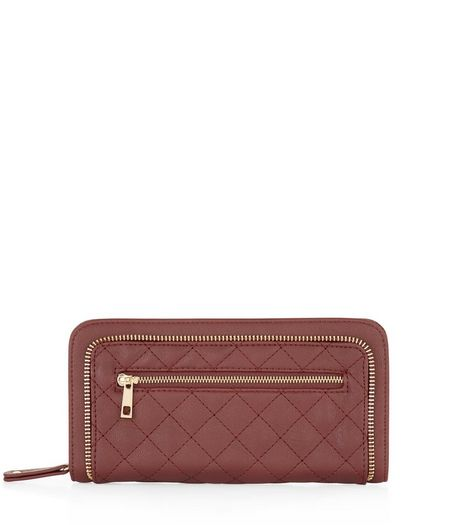 Dark Red Quilted Zip Around Purse  | New Look