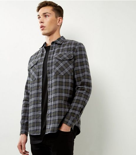 Khaki Check Cotton Double Pocket Long Sleeve Shirt | New Look