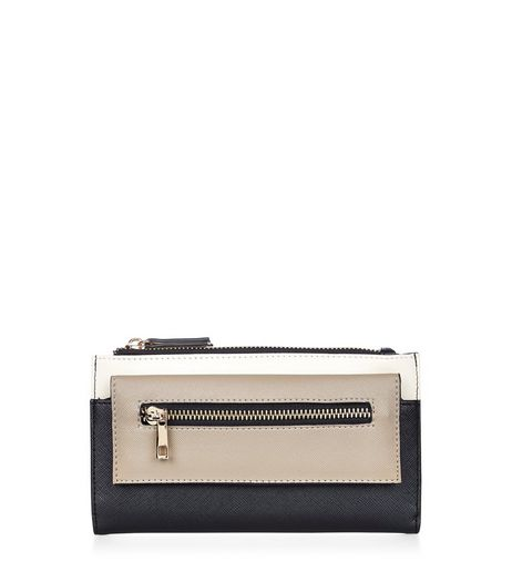 Black Colour Block Fold Over Purse  | New Look