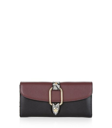 Burgundy Snakeskin Gusset Purse | New Look
