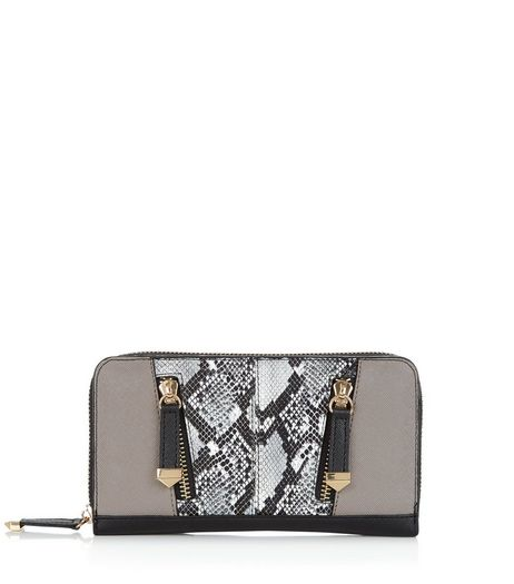 Black Snakeskin Panel Zip Purse | New Look