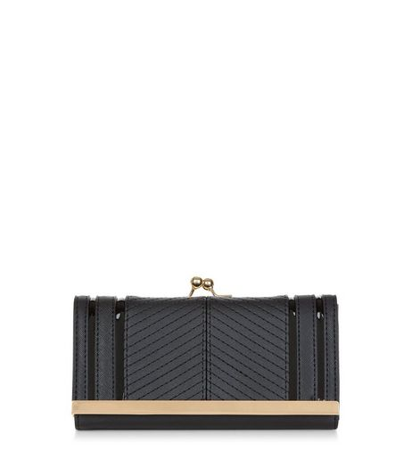 Black Textured Gold Trim Purse | New Look