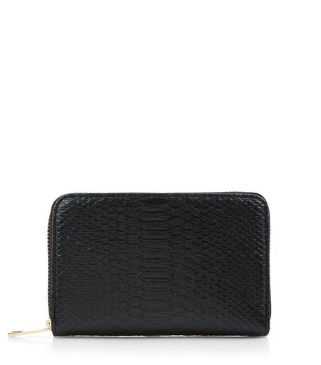 Black Snakeskin Zip Around Purse | New Look