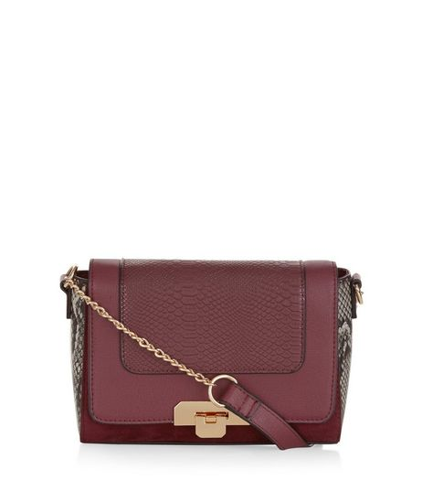 Burgundy Snakeskin Print Panel Across Body Bag | New Look