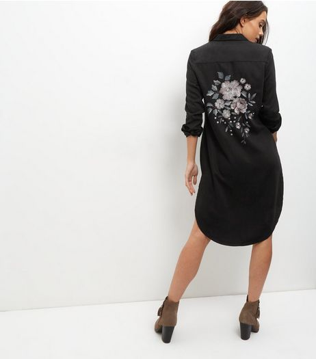 Anita and Green Black Floral Embroidered Shirt Dress | New Look