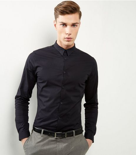 Black Stretch  Slim Fit Long Sleeve Shirt | New Look