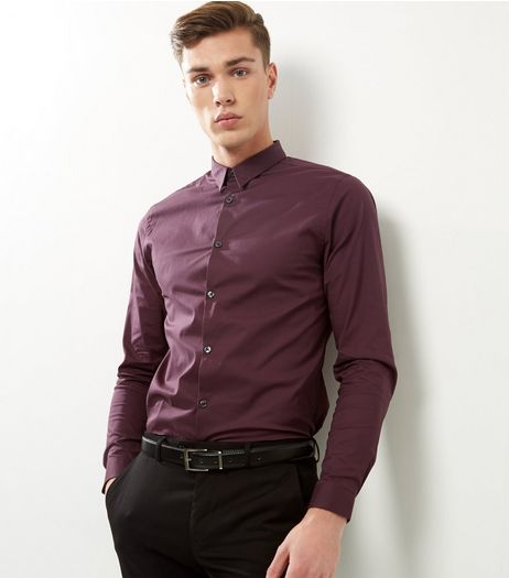 Dark Purple Stretch Slim Fit Long Sleeve Shirt | New Look