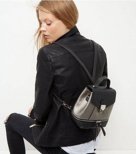 Black Colour Block Metallic Backpack | New Look