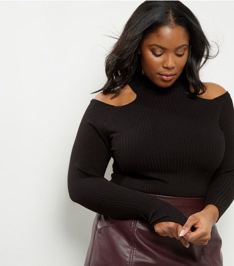 Curves Black Ribbed Funnel Neck Cold Shoulder Top | New Look