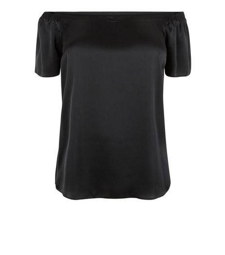 Curves Black Sateen Bardot Neck Top | New Look