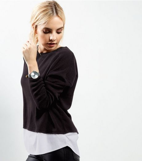 Petite Black 2 in 1 Crew Neck Jumper | New Look